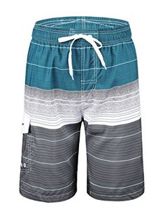 7a91d8a2ce Nonwe Men's Swimwear Quick Dry Striped Board Shorts With mesh lining  Elastic waistband,adjustable Straps One velcro pockets,two front hand  pockets Quick dry ...