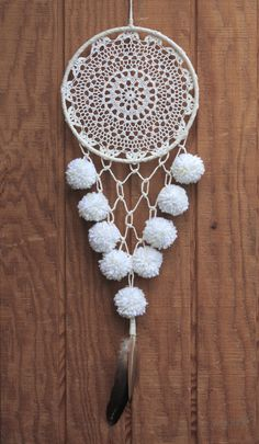 8 white & neutral tone, crocheted, lace dreamcatcher made with unbleached, hand-knotted cotton, salvaged materials and decorated with pom poms, tassels