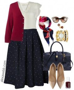 Plus Size Navy Dot Skirt Outfits - Plus Size Fall Work Outfit Ideas - Plus Size Fashion for Women - alexawebb.com #alexawebb