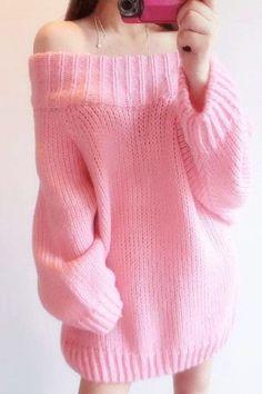 "Pastel pink sweater ♥ // Using ""Brick"" top down knitting pattern Pastel Fashion, Kawaii Fashion, Cute Fashion, Style Fashion, Mode Outfits, Casual Outfits, Girl Outfits, Fashion Outfits, Ddlg Outfits"