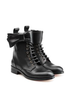 Buy RED Valentino Women's Black Leather Lace-up Ankle Boots With Bow, starting at €539. Similar products also available. SALE now on!