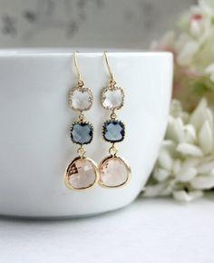 Wedding Earrings Champagne Peach Dark Blue Navy Blue Glass Earrings. Blue and Peach Wedding by Marolsha - https://www.etsy.com/listing/196841447/wedding-earrings-champagne-peach-dark?ref=shop_home_active_3&ga_search_query=peach%2Bearring