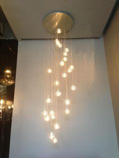 Modern Pendant Light Led Bulbs Included Crystal Suspension Lighting Stairs Dinning Room Loft Light Lamp - All For Decoration Stairway Lighting, Loft Lighting, Hallway Lighting, Modern Chandelier Lighting, Dinning Lighting, Crystal Pendant Lighting, Chandeliers, Globe Pendant Light, Modern Pendant Light
