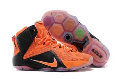 Cheap Lebron 12 Orange Grey Black For sale on www.cheaplebron12shoe.com