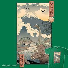 Jurassic Ukiyo-e | Shirtoid #brontosaurus #dinosaur #japanese #stegosaurus #triceratops #ukiyoe #vincenttrinidad