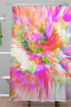 Adam Priester Color Explosion IV Shower Curtain is the perfect creative expression of color, color, COLOR all over! Easily upgrade a small space bathroom in a minute flat AND for under $100. It's rainbow magic!