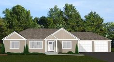 Ranch Traditional Elevation of Plan 50636