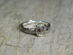 Gray Rose Cut Diamond 14k Gold & Sterling Silver by UrsaMetals