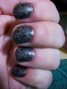 Matte nails with shiny stamping