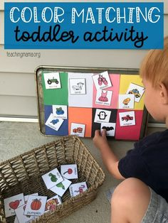 Two simple ideas for a color matching activity. Great for toddlers and preschoolers to work on identifying and sorting colors.