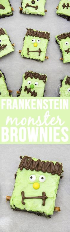 Frankenstein Monster Brownies - These adorable monster brownies are topped with a mint frosting, chocolate and candy eyes for an easy Halloween dessert. essen frankenstein Frankenstein Brownies - Like Mother Like Daughter Halloween Brownies, Halloween Desserts, Halloween Goodies, Halloween Food For Party, Halloween Cupcakes, Holiday Desserts, Easy Halloween, Holiday Baking, Holiday Treats