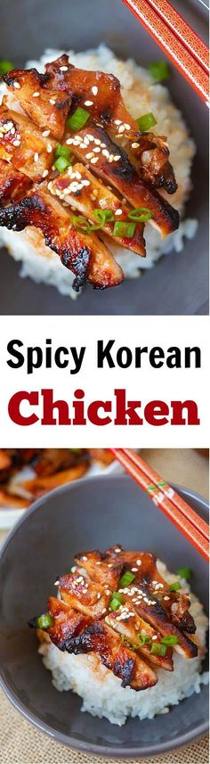 Korean Chicken – amazing and super yummy chicken with spicy Korean marinade. So easy to make, cheaper, and better than takeout Asian Recipes, Mexican Food Recipes, Dinner Recipes, Sweet Recipes, Spicy Korean Chicken, Korean Beef, Korean Food, Ginger Chicken, Chinese Chicken