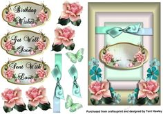 This 3D A5 decoupage card front has very special labels,  There are 3, Birthday Wishes, Get Well Soon and sent with love, but of course you can also use your own, it is very easy to make and fits any A5 envelope when finished.