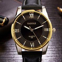 YAZOLE 348 Luxury Business Men Wrist Watch Fashion Leather Male Quartz Watch at Banggood