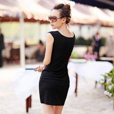 Sexy Hip Slim Sleeveless Dress Black ❤ liked on Polyvore