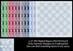 12 shades with a frosted edge and snowflake design  JPG  PU/CU/CU4CU allowed when used a san embelishment in your own work  TOU included in the file