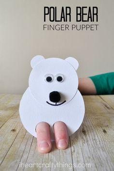 Make these cute polar bear kids craft finger puppets to go along with a favorite polar bear children's book.