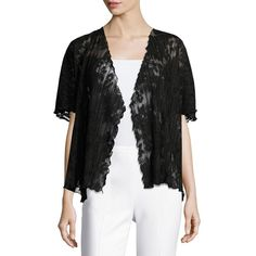Caroline Rose Short-Sleeve Pleated Lace Crop Cardigan ($200) ❤ liked on Polyvore featuring plus size women's fashion, plus size clothing, plus size tops, plus size cardigans, black, open front cardigan, lacy cardigan, short sleeve crop top, short sleeve tops and cropped cardigan