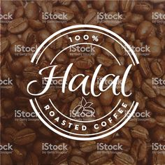 Halal Coffee round labels on coffee bean textured background royalty-free halal coffee round labels on coffee bean textured background stock illustration - download image now