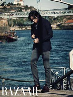 navy blazer, grey slim pants and a ciggarette (Gong Yoo in Portugal for Harper's Bazaar)