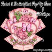 Roses and Butterflies Pop Up Box Card & Envelope