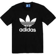 Adidas Originals Trefoil Tee Mens AB7534 Black White S/S Logo T-Shirt Size XL