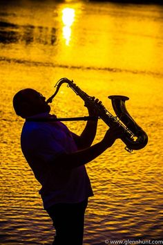 One of Noosa jazz festival's sax players jazzin out at sunset
