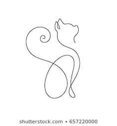 A line cat design silhouette. Hand drawn minimalism style vector illustration - Tatting - A line cat design silhouette. Line Art Design, Cat Design, One Line Tattoo, Line Art Tattoos, Cat Outline Images, Art Abstrait Ligne, Arte Linear, Nouveau Tattoo, Line Art Flowers