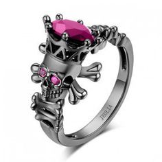 3.0 CT Skeleton Head Pink Sapphire Rhodium Plating Sterling Silver Designer Skull Engagement Ring