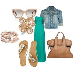 Top 10 summer outfits for 2013, love turquoise maxi dress with pink jewelry and sandals, and bag