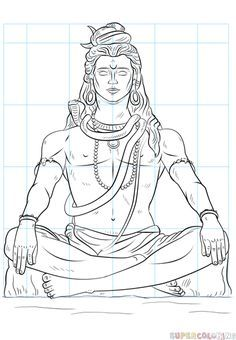 How to draw Lord Shiva step by step. Drawing tutorials for kids and beginners. Lord Shiva Sketch, Ganesha Sketch, Ganesha Drawing, Mandala Drawing, Mandala Art, Cool Car Drawings, Art Drawings Sketches Simple, Art Drawings For Kids, Outline Drawings