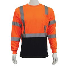 af3f03b5bd84 ERB 9802SB Extra-Large Class 3 Long Sleeve Hi-Viz Orange/Black Bottom  Unisex Poly Jersey T-Shirt, Size: XL