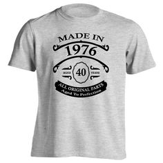 40th Birthday Gift T-Shirt - Born In 1976 - Vintage Aged 40 Years To Perfection - Short Sleeve - Mens - Grey - X-Large T Shirt - (2016 Version)