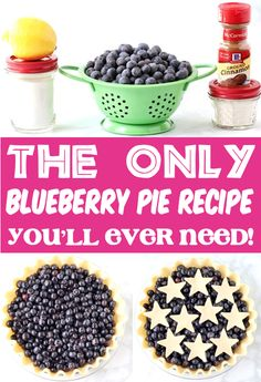 Pie Recipes - Easy Fruit Pies for Summer Desserts!  Thanks to a secret ingredient, this Blueberry pie is the perfect consistency!!  Plus, you won't believe how quick and easy it is to make!  Go grab the recipe and give it a try this week! Blackberry Pie Recipes, Easy Blueberry Pie, Blueberry Dump Cakes, Easy Pie Recipes, Fruit Recipes, Baking Recipes, Easy Summer Desserts, Summer Dessert Recipes, Baking For Beginners
