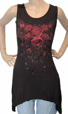 Blood Rose Spiral Semi Fitted Long Vest Top Dress Goth Biker Fantasy