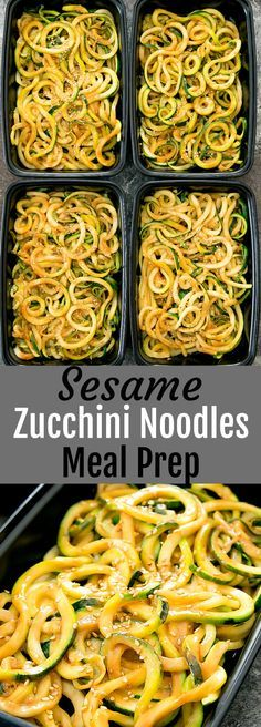 Sesame Zucchini Noodles Meal Prep. Asian-style sesame zucchini noodles are an easy meal prep that can be eaten hot or cold.