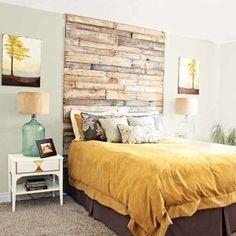 Master bedroom. DIY headboard. mustard and brown color. #home #decor