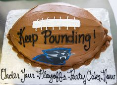 A Carolina Panthers football cake! Sports Themed Cakes, Carolina Panthers Football, First Birthdays, Showers, Party, One Year Birthday, Fiesta Party, First Anniversary, Receptions