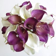 Calla Lily Bridal Bouquet . Real Touch Callas & AB glass crystals- purple, white, cream, orange, lime green, yellow, pink, ivory, handwired. $160.00, via Etsy.