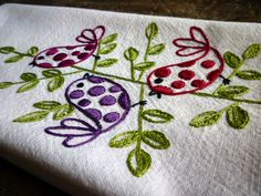 Polka Dot Birds Hand Embroidered Towel by Melys Hand-Embroidery, via Flickr