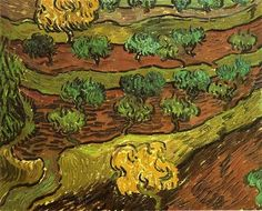 Olive Trees against a Slope of a Hill - Vincent van Gogh