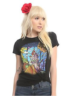 Your castle awaits you // Disney Beauty And The Beast Stained Glass Castle Girls T-Shirt