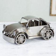 Armando Ramirez - Mexico Handmade Recycled Auto Parts Metal Vintage Beetle - Rustic Vintage Car   NOVICA