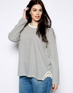 New Look Inspire | New Look Inspire Stripe Long Sleeve Sweat With Crochet Trim at ASOS