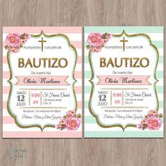 Inspirate con esta bonita tarjeta para el bautizo de tu bebe. #bautizo #invitación