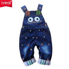 Marca 2016 Outono Macacão de Bebê Animal Do Bebê Da Menina do Menino Macacão Jeans de Alta Qualidade Denim Macacão Infantil Roupas de Bebê Roupas 0-2A