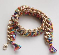 Rainbow Chains Wrapped Bracelet: Learn how to make a chain bracelet that's hip and hassle-free.