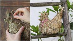 Jarní slepička: Návod na dekorace ze sena | Prima nápady Bird Feeders, Origami, Outdoor Decor, Plants, Home Decor, Kitchen, Craft, Crafting, Decoration Home