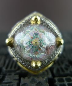 Sevan Bicakci One of a Kind Carved Hagia Sophia Dome Ring with Diamonds in 24K Gold and Silver $19500.