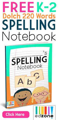 Free Spelling Notebook for Kids!  Covers K-2 Dolch 220 words, and blank lines for adding in your own word list.  Alphabetical and features a cute animal for each letter.  https://kindergartenmom.com/spelling-printables/kindergarten-spelling-notebook/?utm_campaign=coschedule&utm_source=pinterest&utm_medium=Preschool%20Kindergarten%20Mom&utm_content=Kindergarten%20Spelling%20Notebook